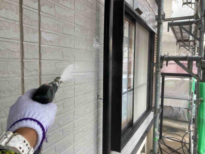 外壁 高圧洗浄 施工状況