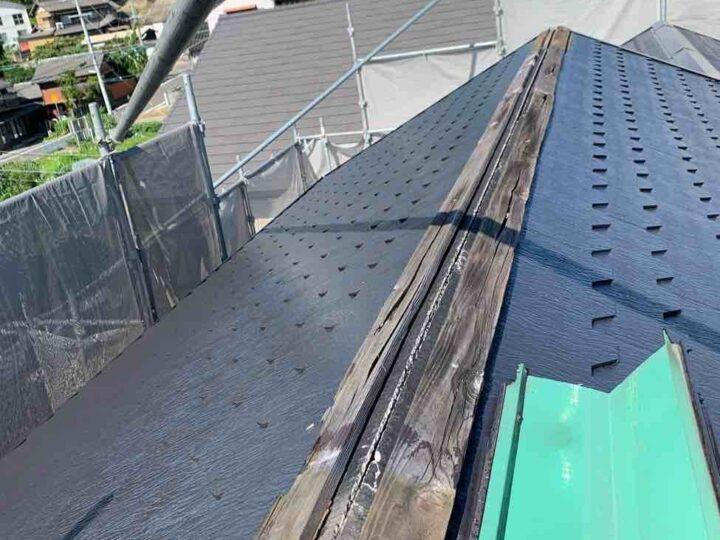 屋根棟下地木材交換